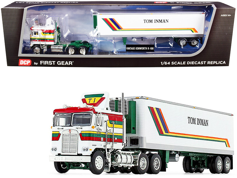 Kenworth K100 COE Flattop 40' Vintage Reefer Refrigerated Trailer Tom Inman Trucking White with Stripes 35rd Fallen Flag Series 1/64 Diecast Model DCP First Gear 60-0847