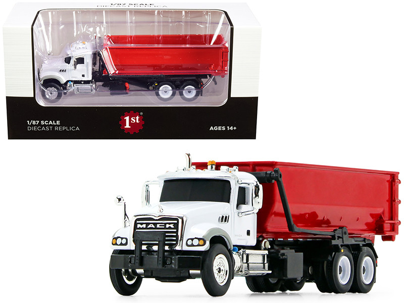 Mack Granite Tub-Style Roll-Off Container Dump Truck White Red 1/87 Diecast Model First Gear 80-0345