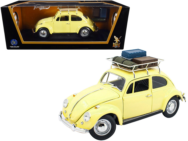 1967 Volkswagen Beetle Roof Rack Luggage Yellow 1/18 Diecast Model Car Road Signature 92078