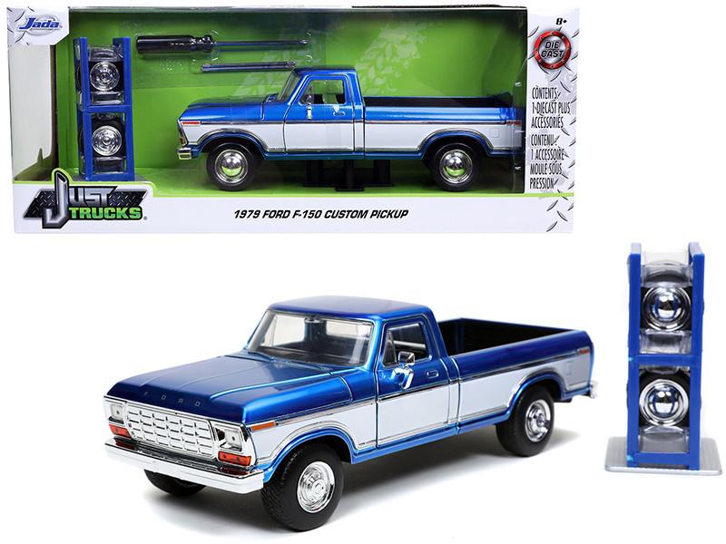 1979 Ford F-150 Custom Pickup Truck Candy Blue White Extra Wheels Just Trucks Series 1/24 Diecast Model Car Jada 32309