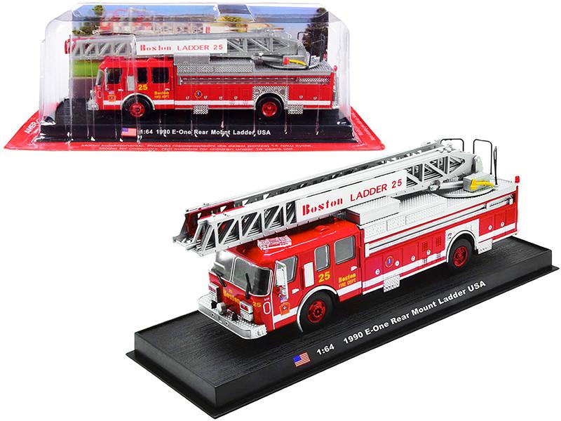 1990 E-One Rear Mount Ladder Fire Engine Red Boston Fire Department Massachusetts 1/64 Diecast Model Amercom ACGB15