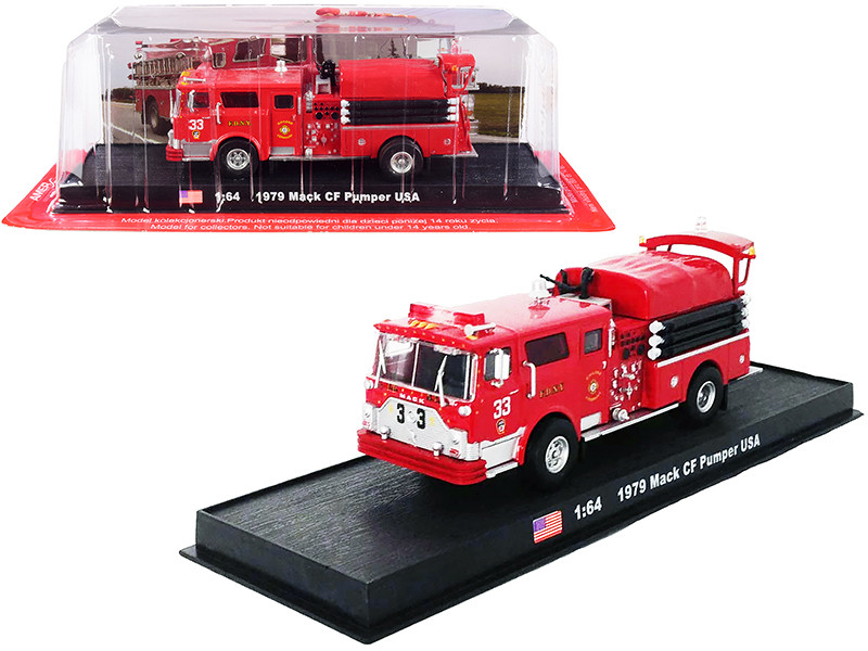 1979 Mack CF Pumper Fire Engine Red FDNY New York City Fire Department New York 1/64 Diecast Model Amercom ACGB20