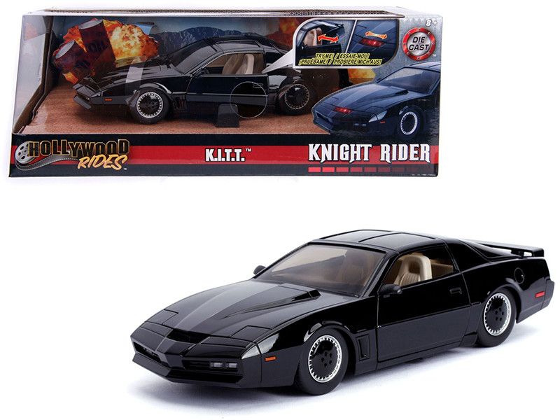 1982 Pontiac Firebird Trans Am Black with Light KITT Knight Rider 1982 TV Series Hollywood Rides Series 1/24 Diecast Model Car Jada 30086