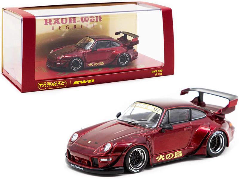 Porsche RWB 993 Phoenix 火の鳥 Burgundy RAUH-Welt BEGRIFF 1/43 Diecast Model Car Tarmac Works T43-014-BF