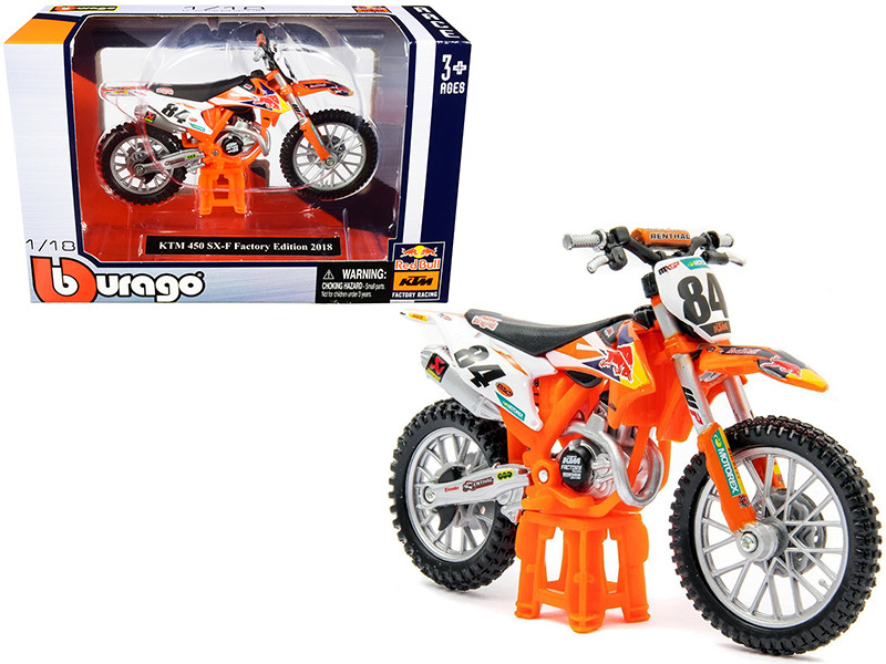 KTM 450 SX-F #84 Red Bull Factory Edition 2018 1/18 Diecast Motorcycle Model Bburago 51081