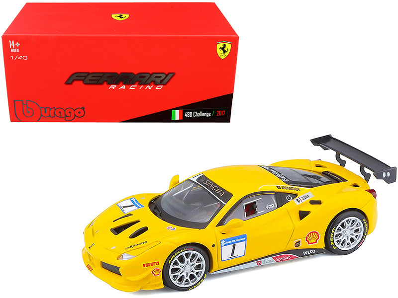 2017 Ferrari 488 Challenge #1 Yellow 1/43 Diecast Model Car Bburago 36306