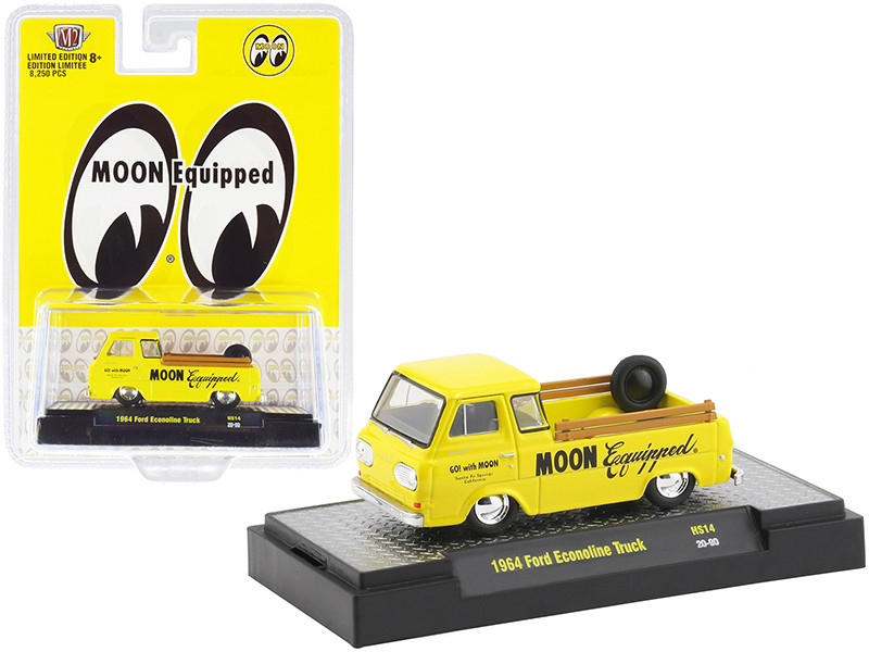1964 Ford Econoline Pickup Truck Moon Equipped Bright Yellow Limited Edition 8250 pieces Worldwide 1/64 Diecast Model Car M2 Machines 31500-HS14