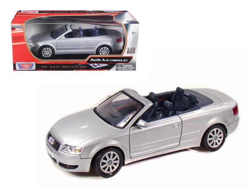2004 Audi A4 Convertible Silver 1/18 Diecast Model Car Motormax 73148