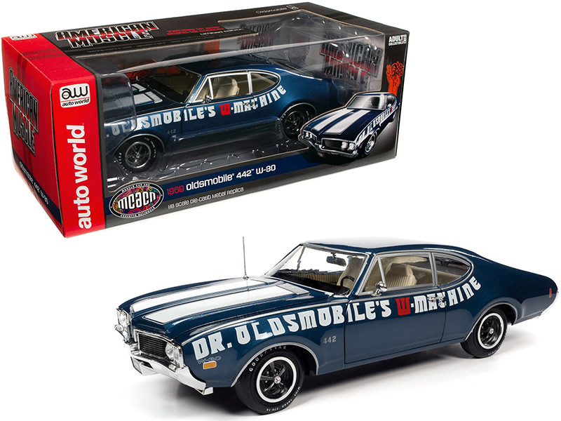 1969 Oldsmobile 442 W-30 Coupe Dr. Oldsmobile's W-Machine Trophy Blue Metallic White Stripes Muscle Car & Corvette Nationals MCACN 1/18 Diecast Model Car Autoworld AMM1235