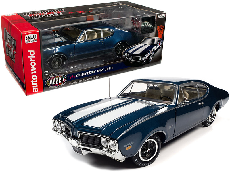 1969 Oldsmobile 442 W-30 Coupe Trophy Blue Metallic White Stripes Muscle Car & Corvette Nationals MCACN Special Limited Edition 1/18 Diecast Model Car Autoworld AMM1236