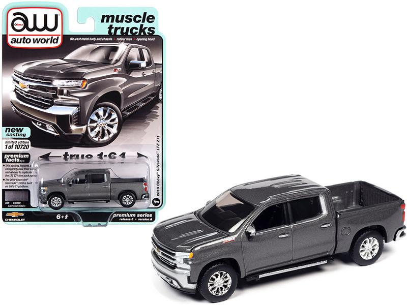 2019 Chevrolet Silverado LTZ Z71 Pickup Truck Satin Steel Gray Metallic Muscle Trucks Limited Edition 10720 pieces Worldwide 1/64 Diecast Model Car Autoworld 64282 AWSP053 A