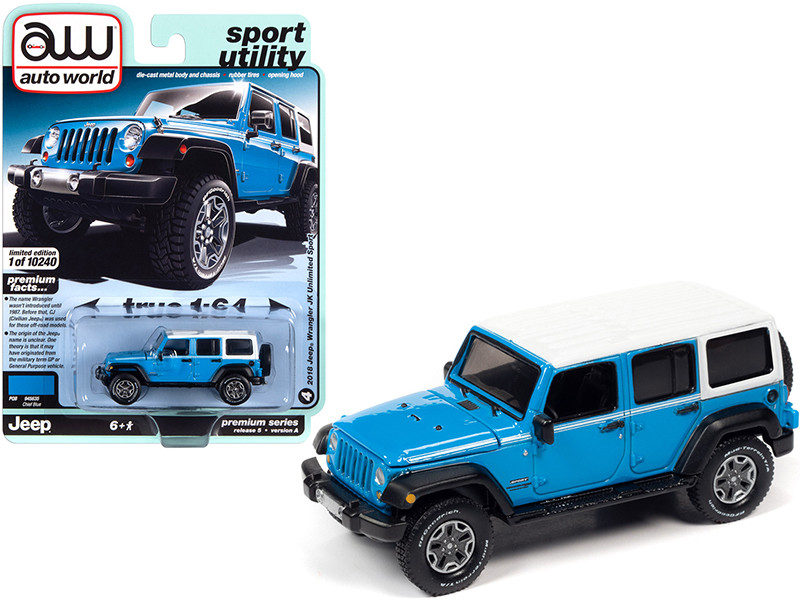 2018 Jeep Wrangler JK Unlimited Sport Chief Blue White Top White Stripes Sport Utility Limited Edition 10240 pieces Worldwide 1/64 Diecast Model Car Autoworld 64282 AWSP054 A
