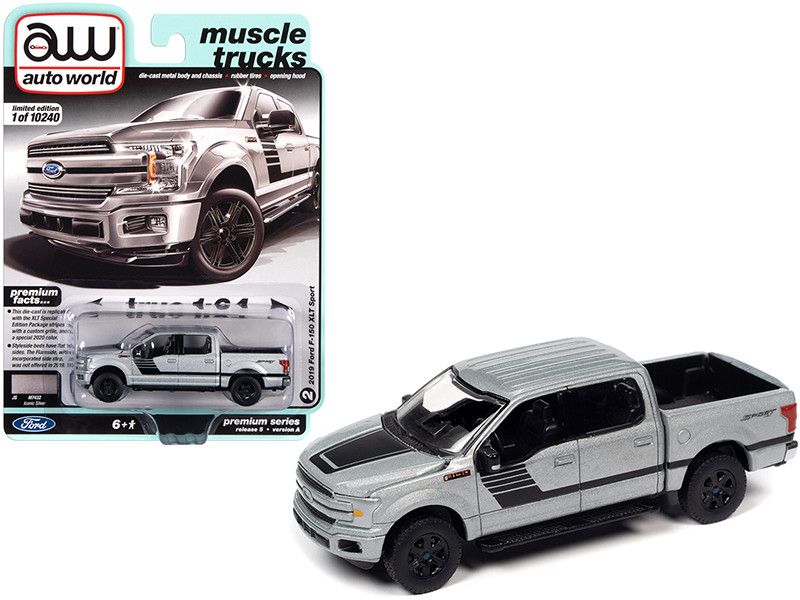 2019 Ford F-150 XLT Sport Pickup Truck Iconic Silver Metallic Black Stripes Muscle Trucks Limited Edition 10240 pieces Worldwide 1/64 Diecast Model Car Autoworld 64282 AWSP055 A