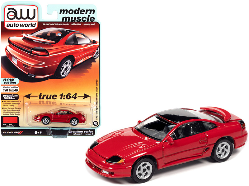 1991 Dodge Stealth R/T Twin Turbo Firestorm Red Black Top Modern Muscle Limited Edition 10240 pieces Worldwide 1/64 Diecast Model Car Autoworld 64282 AWSP056 A