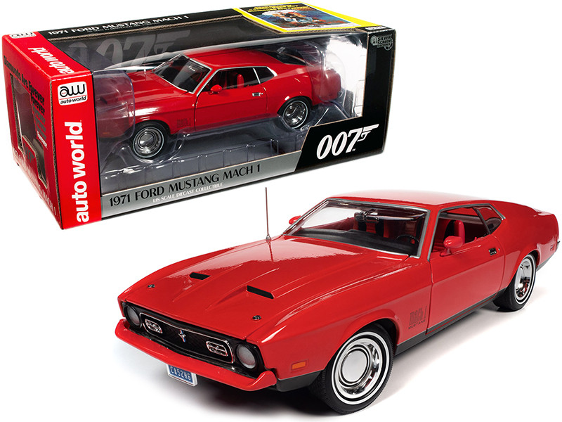1971 Ford Mustang Mach 1 Bright Red Red Interior James Bond 007 Diamonds are Forever 1971 Movie 1/18 Diecast Model Car Autoworld AWSS126