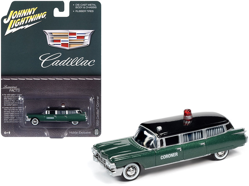 1959 Cadillac Coroner Green Metallic Black Top Special Edition 1/64 Diecast Model Car Johnny Lightning JLSP100