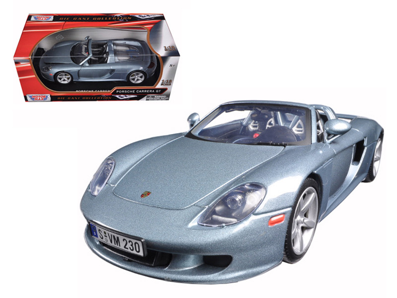 Porsche Carrera GT Silver with Black Interior 1/18 Diecast Model Car Motormax 73163