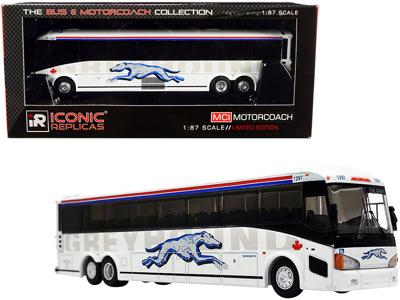 MCI D4505 Motorcoach Bus Calgary Greyhound Canada White with Stripes The Bus & Motorcoach Collection 1/87 HO Diecast Model Iconic Replicas 87-0219