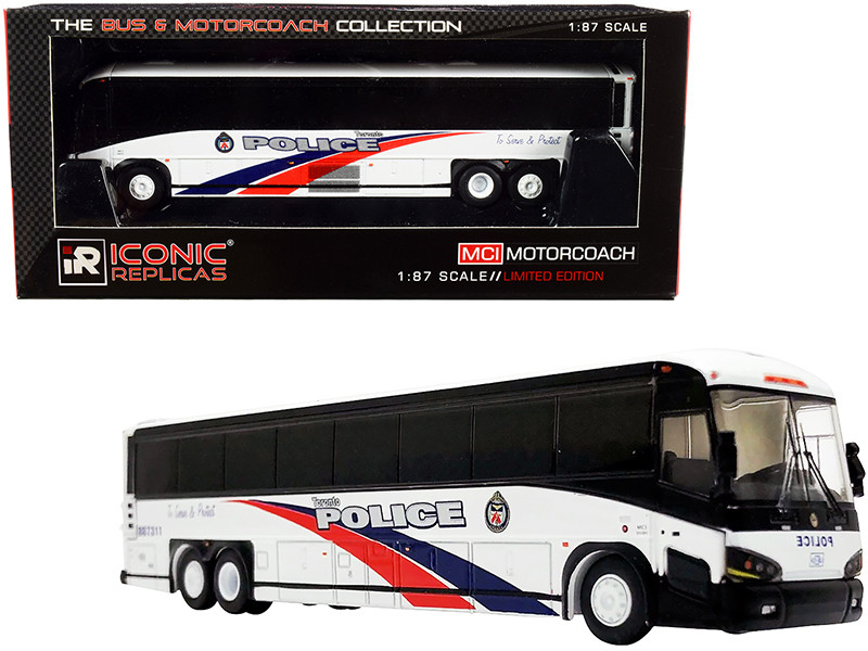 MCI D4505 Motorcoach Bus Toronto Police Canada White with Blue Red Stripes The Bus & Motorcoach Collection 1/87 HO Diecast Model Iconic Replicas 87-0253