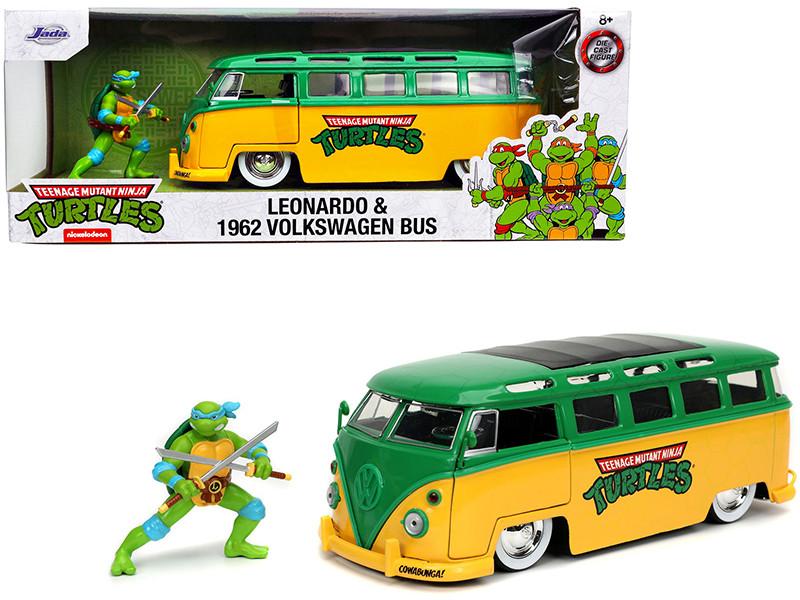 1962 Volkswagen Bus Yellow Green Leonardo Diecast Figurine Teenage Mutant Ninja Turtles TV Series 1/24 Diecast Model Car Jada 31786