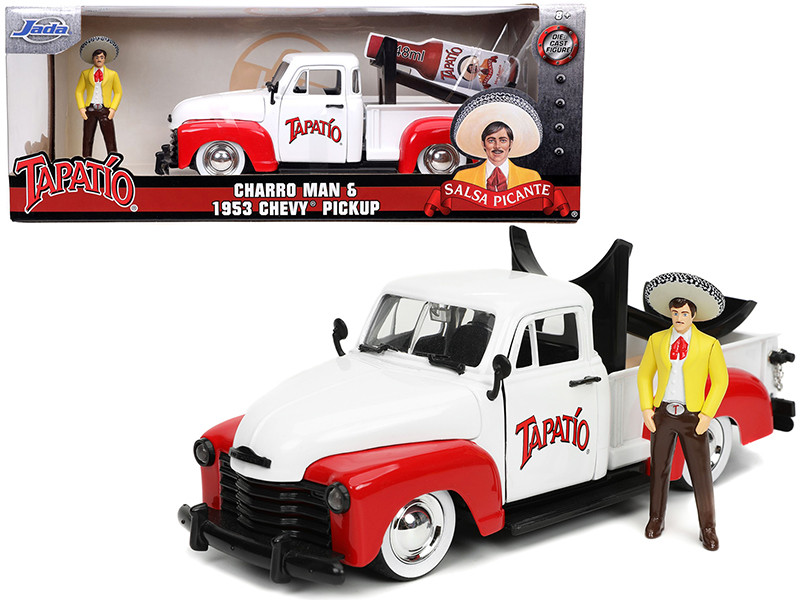 1953 Chevrolet Pickup Truck White Red Charro Man Diecast Figurine Tapatio 1/24 Diecast Model Car Jada 31968