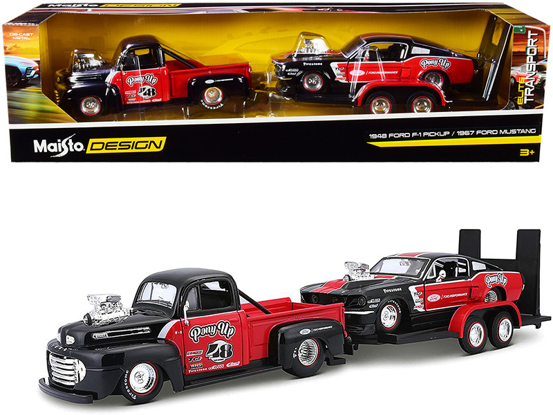 1948 Ford F-1 Pickup Truck #48 1967 Ford Mustang GT Flatbed Trailer Pony Up Red Black Set of 3 pieces Elite Transport Series 1/24 Diecast Model Cars Maisto 32751