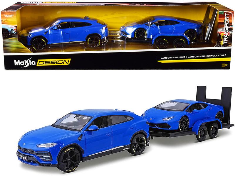 Lamborghini Urus Blue Lamborghini Huracan Coupe Blue Flatbed Trailer Set of 3 pieces Elite Transport Series 1/24 Diecast Model Cars Maisto 32753