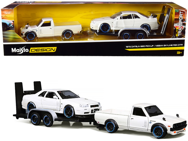 1973 Datsun 620 Pickup Truck White Metallic Nissan Skyline R34 GT-R White Metallic Flatbed Trailer Set of 3 pieces Elite Transport Series 1/24 Diecast Model Cars Maisto 32754