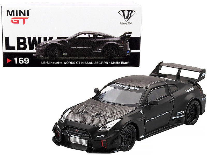 Nissan 35GT-RR Ver. 1 LB-Silhouette WORKS GT RHD Right Hand Drive Matt Black Carbon 1/64 Diecast Model Car True Scale Miniatures MGT00169