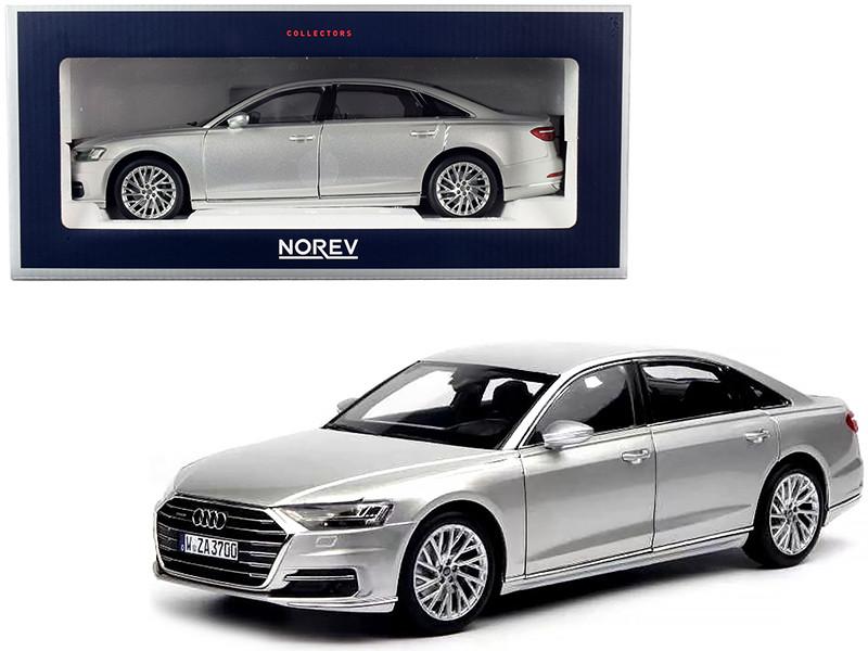 2018 Audi A8 L Silver Metallic 1/18 Diecast Model Car Norev 188366