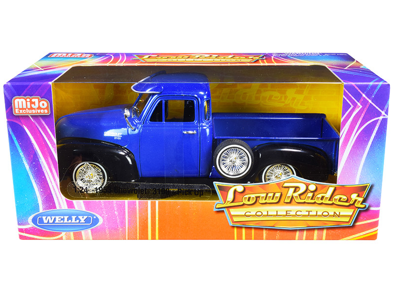 1953 Chevrolet 3100 Pickup Truck Blue Black Low Rider Collection 1/24 Diecast Model Car Welly 22087