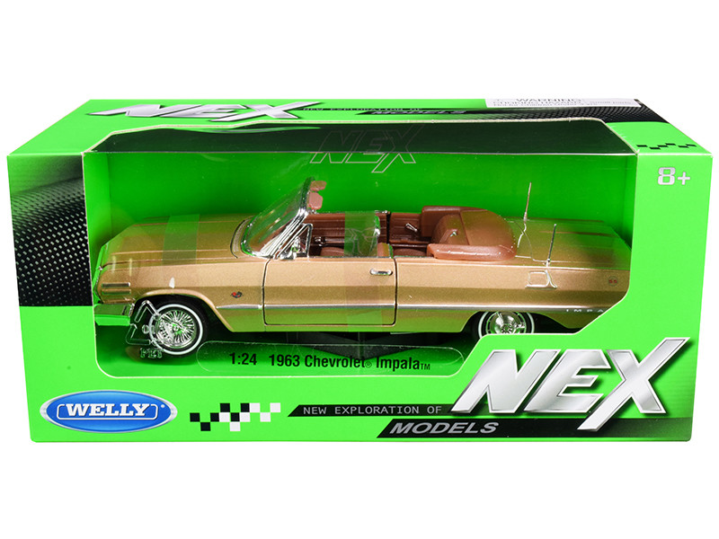 1963 Chevrolet Impala Convertible Gold NEX Models 1/24 Diecast Model Car Welly 22434