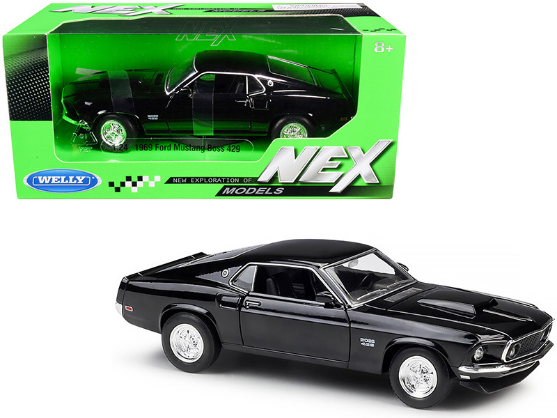 1969 Ford Mustang Boss 429 Black NEX Models 1/24 Diecast Model Car Welly 24067