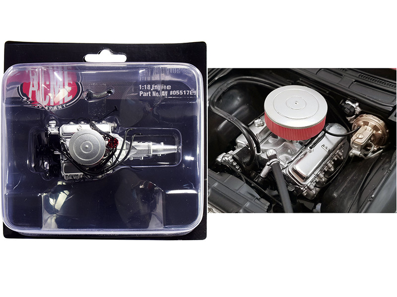 454 Chevy Big Block Engine 5 Speed Transmission Replica from 1970 Chevrolet Chevelle 454 SS Street Fighter G-Force 1/18 ACME A1805517E