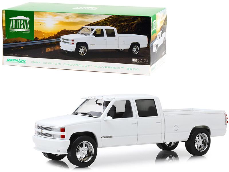 1997 Chevrolet Silverado 3500 Custom Pickup Truck Olympic White 1/18 Diecast Model Car Greenlight 19072