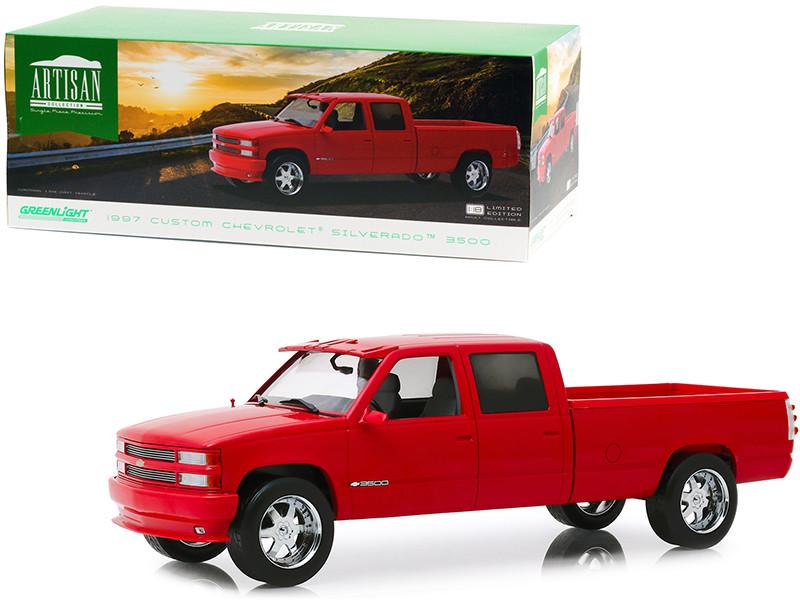 1997 Chevrolet Silverado 3500 Custom Pickup Truck Victory Red 1/18 Diecast Model Car Greenlight 19073