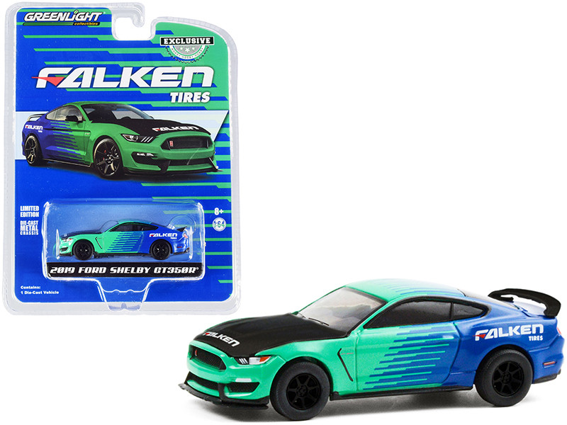 2019 Ford Mustang Shelby GT350R Falken Tires Green Blue Carbon Hood Hobby Exclusive 1/64 Diecast Model Car Greenlight 30211
