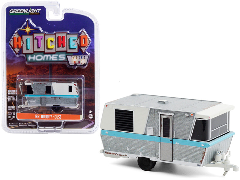 1961 Holiday House Travel Trailer Silver White Blue Stripe Weathered Hitched Homes Series 9 1/64 Diecast Model Greenlight 34090 A