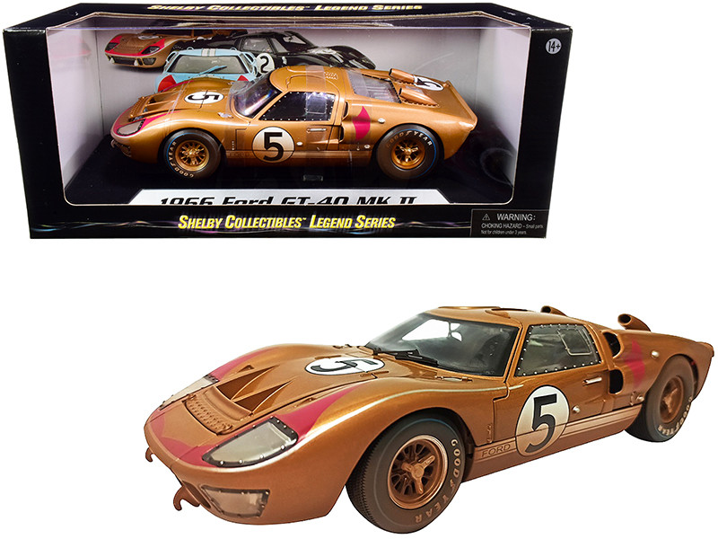 1966 Ford GT-40 MK II #5 Gold After Race Dirty Version 1/18 Diecast Model Car Shelby Collectibles SC430