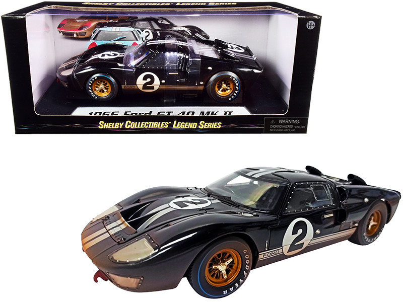 1966 Ford GT-40 MK II #2 Black Silver Stripes After Race Dirty Version 1/18 Diecast Model Car Shelby Collectibles SC431