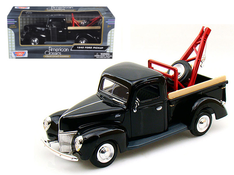 1940 Ford Pickup Tow Truck Black 1/24 Diecast Car Model Motormax 73234
