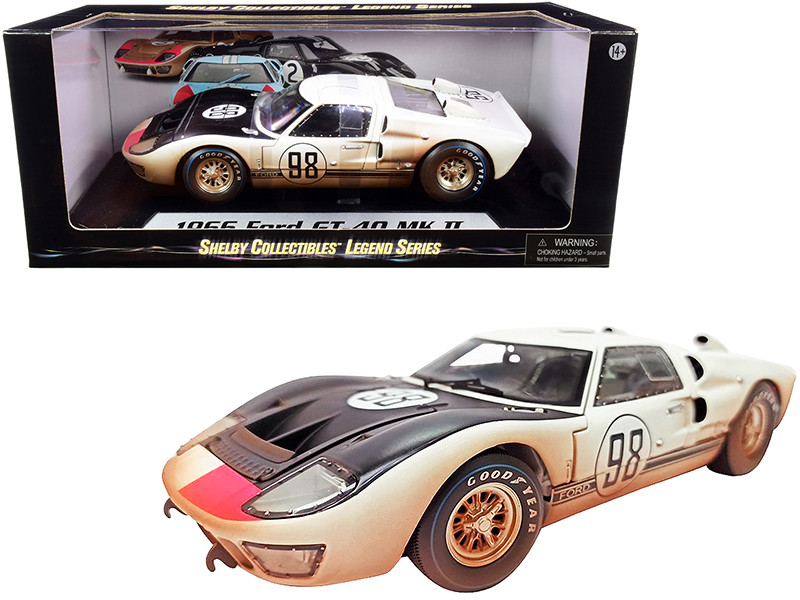 1966 Ford GT-40 MK II #98 White Black Hood After Race Dirty Version 1/18 Diecast Model Car Shelby Collectibles SC432