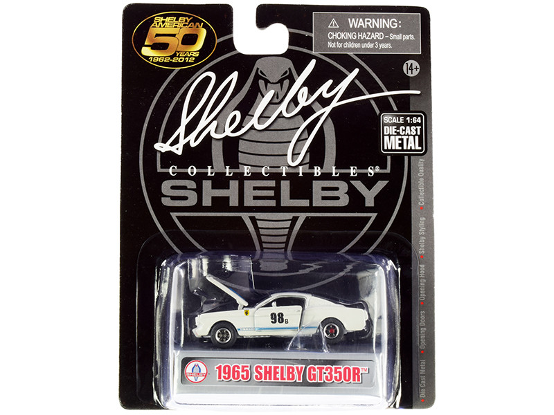 1965 Ford Mustang Shelby GT350R #98B Terlingua Racing Team White Blue Stripes Shelby American 50 Years 1962 2012 1/64 Diecast Model Car Shelby Collectibles SC777