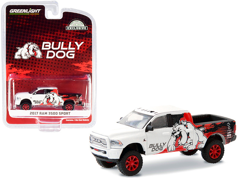 2017 RAM 3500 Sport Pickup Truck Bully Dog White Black Red Graphics Hobby Exclusive 1/64 Diecast Model Car Greenlight 30172