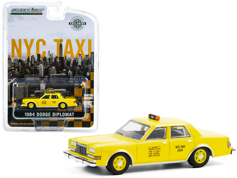 1984 Dodge Diplomat Yellow NYC Taxi New York City Hobby Exclusive 1/64 Diecast Model Car Greenlight 30199