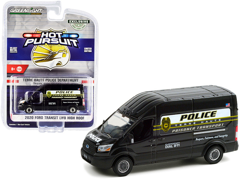 2020 Ford Transit LWB High Roof Van Terre Haute Police Prisoner Transport Terre Haute Police Department Indiana Hot Pursuit Series 1/64 Diecast Model Greenlight 30212