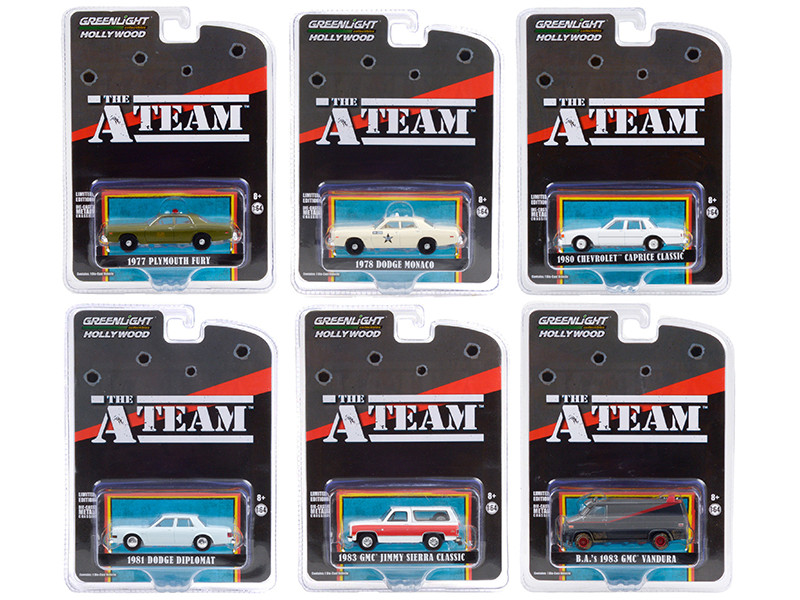The A-Team 1983 1987 TV Series Set of 6 pieces Hollywood Special Edition 1/64 Diecast Model Cars Greenlight 44865