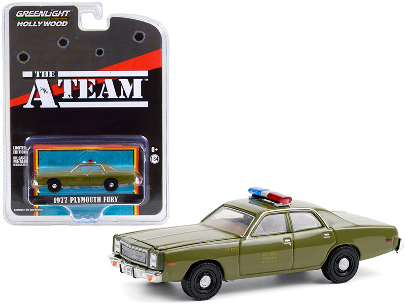 1977 Plymouth Fury US Army Police Army Green The A-Team 1983 1987 TV Series Hollywood Special Edition 1/64 Diecast Model Car Greenlight 44865 A