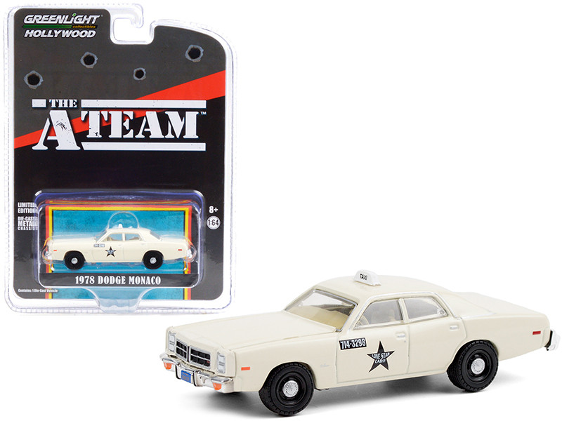 1978 Dodge Monaco Taxi Cream Lone Star Cab Co The A-Team 1983 1987 TV Series Hollywood Special Edition 1/64 Diecast Model Car Greenlight 44865 B