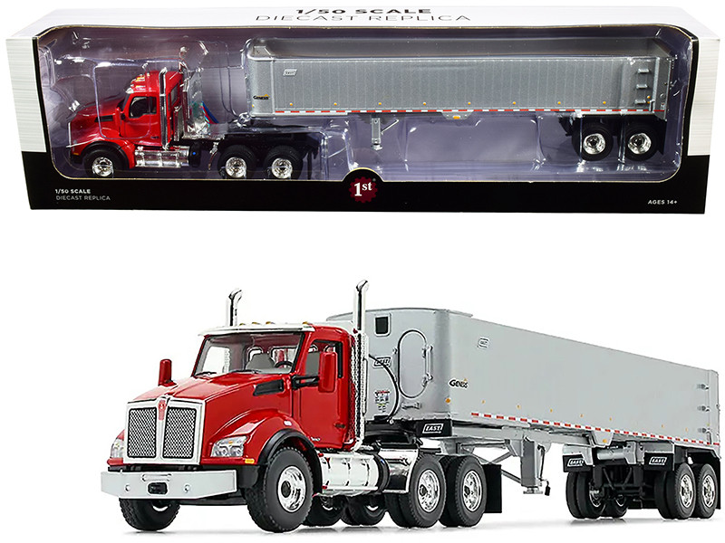Kenworth T880 Day Cab East Genesis End Dump Trailer Viper Red Silver 1/50 Diecast Model First Gear 50-3455
